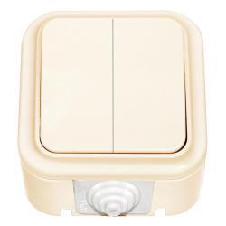 Aufputz Serienschalter IP44 Lichtschalter, farbe creme, serie VIKA