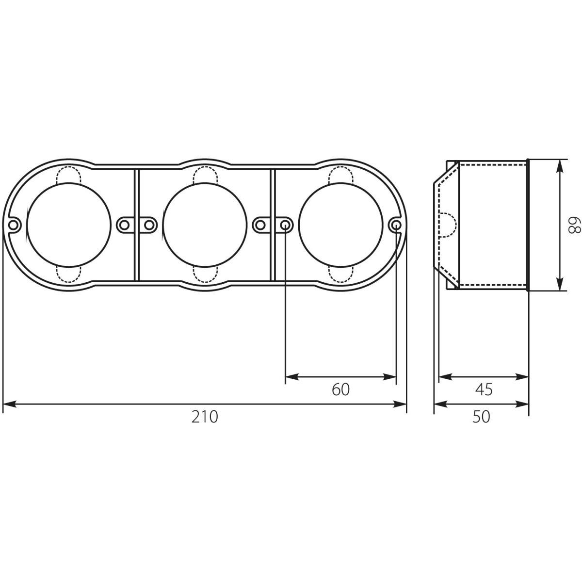 Hohlwanddose 3-fach Abzweigdose Hohlraumdose Dreifach Schalterdose Ø60x50mm,ELEKTRO-PLAST,13.73, 5905548283562