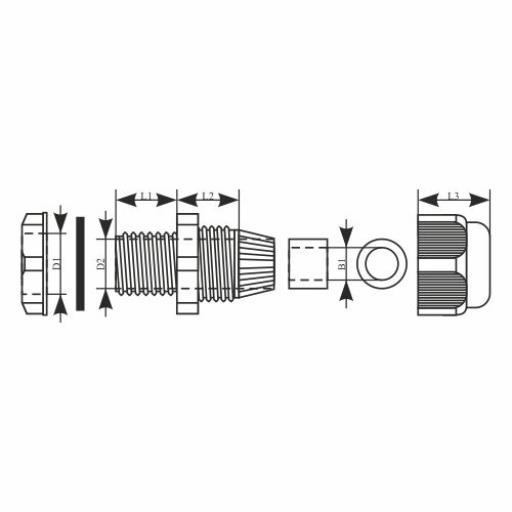 Kabelverschraubung PG16 , IP68 10bar Grau 10 Stück,ELEKTRO-PLAST,34.16, 0721947483403