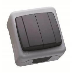 Makel Aufputz Serienschalter 10A 230 V IP55 Lichtschalter Farbe grau