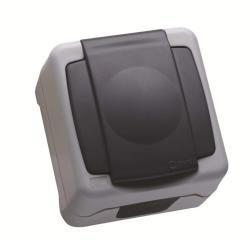 Makel Aufputz Schuko Steckdose IP55 Farbe grau Feuchtraum 16A