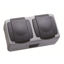 Makel Aufputz Schuko zweifach Steckdose IP55 Farbe grau Feuchtraum ,Makel,36064201, 8694407180469