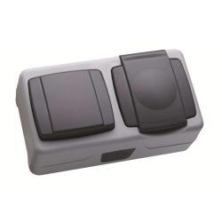 Makel Aufputz Kombi Lichtschalter / Schuko Steckdose IP55 Farbe grau Feuchtraum