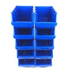 10 Stapelboxen Gr.3 Blau Sichtlagerkästen Stapelkästen Lagerbox Sichtbox
