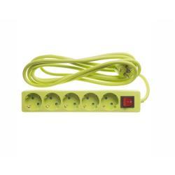 Steckdosenleiste Steckleiste 5 fach, Kinderschutz, Schutzkontakt, 3 m, grün,OKKO,DY-B05KP, 4772013040859