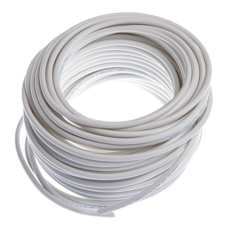 Schlauchleitung 25m flexibles Kabel 2 x 0,75 mm  PVC-Leitung H03VV-F weiß,Lietkabelis,H03VV-F, 4779016542793