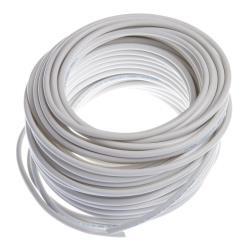 Schlauchleitung 25m flexibles Kabel 2 x 0,75 mm  PVC-Leitung H03VV-F weiß