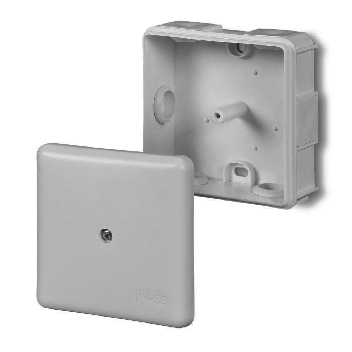 abzweigdose verteilerdose ip55 grau 86x86x39 aufputz verbindungsdose ep lux. Black Bedroom Furniture Sets. Home Design Ideas