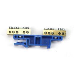 PE/N Klemme für Hutschiene 2x5-polig Sammelklemme, Verteilerklemme Blau