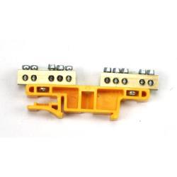 PE/N Klemme für Hutschiene 2x5-polig Sammelklemme, Verteilerklemme Gelb