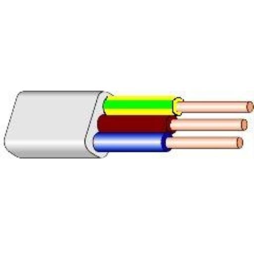 5m Flache Installationsleitung Kabel 3 x 2,5 mm YDYp flach weiß,Lietkabelis,BVV-P, 4779026552119