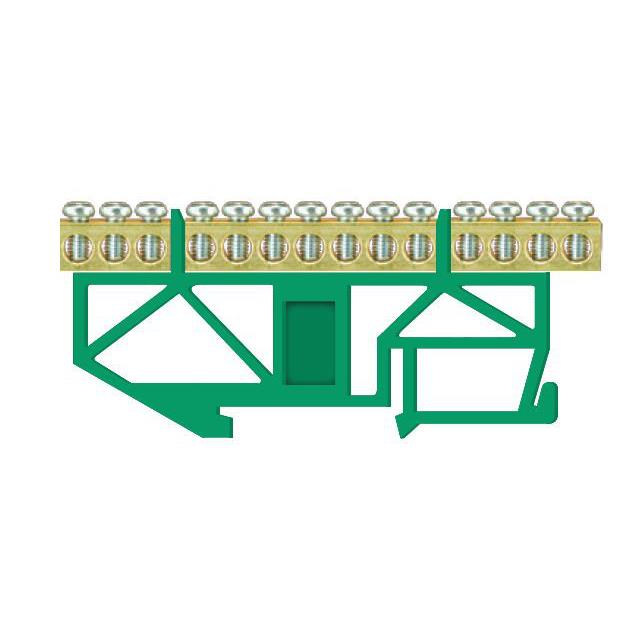 PE Klemme für Hutschiene 14-polig Sammelklemme, Verteilerklemme grün,Pawbol,E.4043, 5907484332984