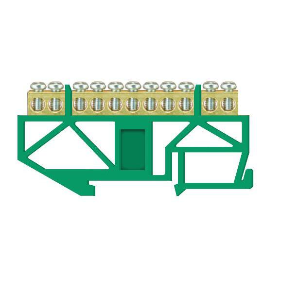 PE Klemme für Hutschiene 11-polig Sammelklemme, Verteilerklemme grün,Pawbol,E.4042, 5907484332977