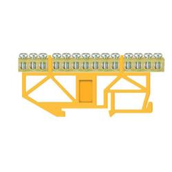 PE Klemme für Hutschiene 14-polig Sammelklemme, Verteilerklemme gelb,Pawbol,E.4057, 5907484333011