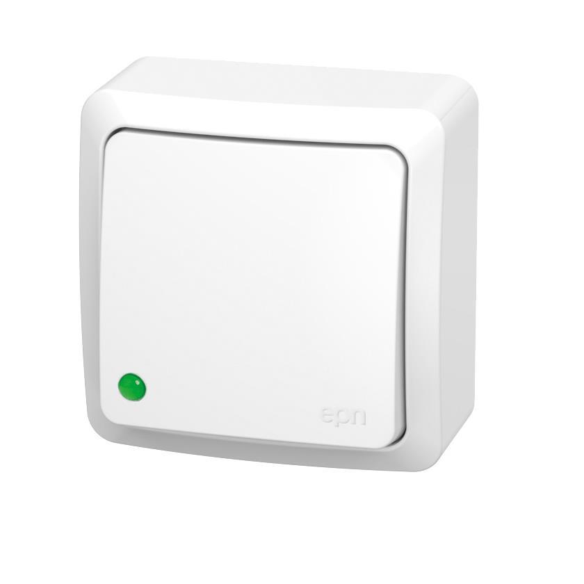 Aufputz Wechselschalter IP20 10A 230V Lichtschalter weiß serie BERG,EPN,3712-00, 5902431694658
