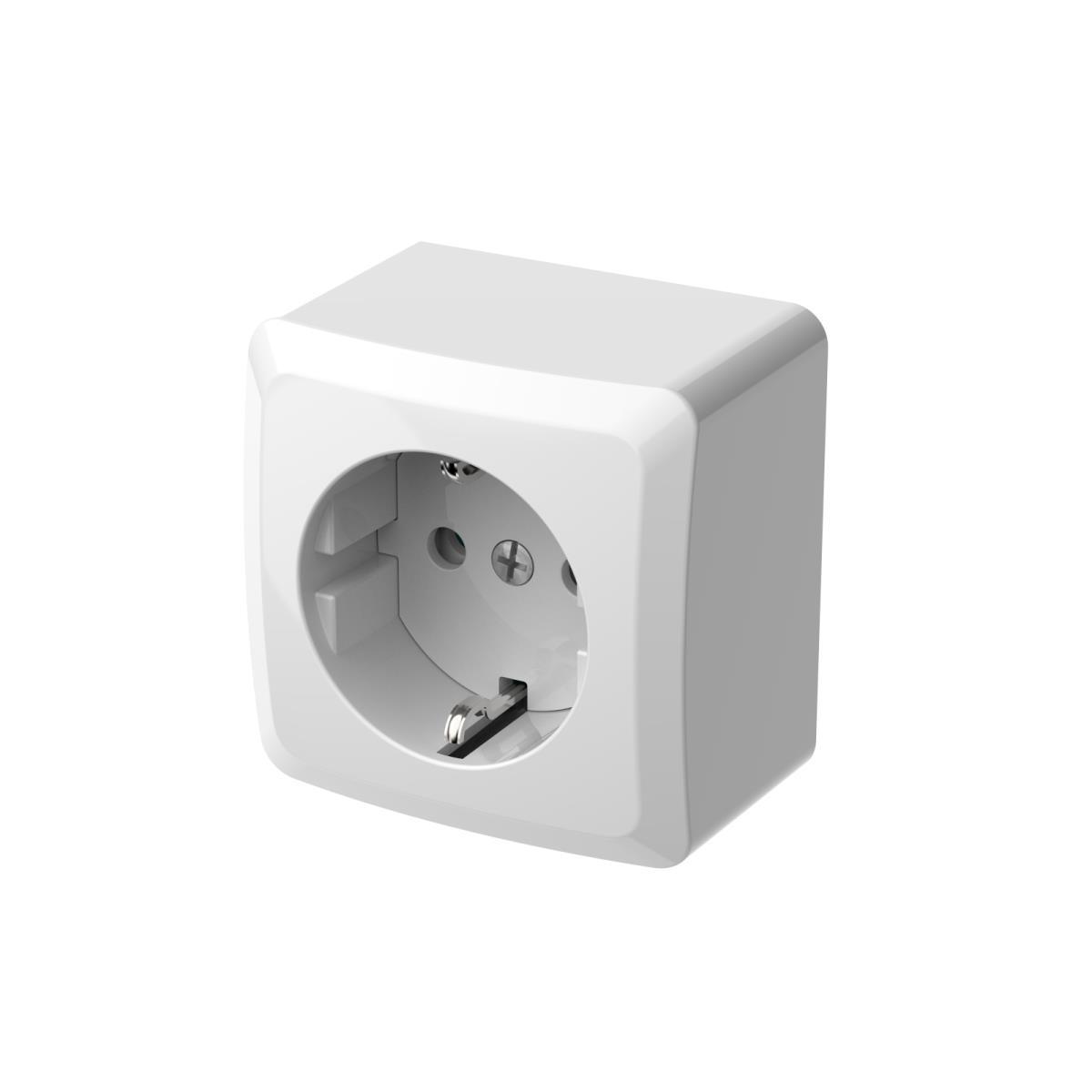 Aufputz Einfach Schuko Steckdose IP20 16A 230V weiß serie BERG,EPN,3737-00, 5902431694870