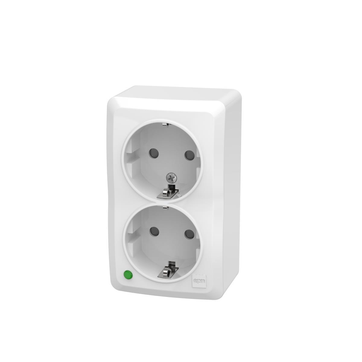 Aufputz Zweifach Schuko Steckdose IP20 16A 230V weiß serie BERG,EPN,3738-00, 5902431694894