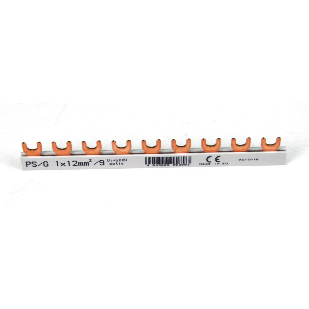 Phasenschiene 1x12mm² 9-Module Sammelschiene Kammschiene Hutschiene 80A,Doktorvolt,DV-2893-PSG, 5905669992893