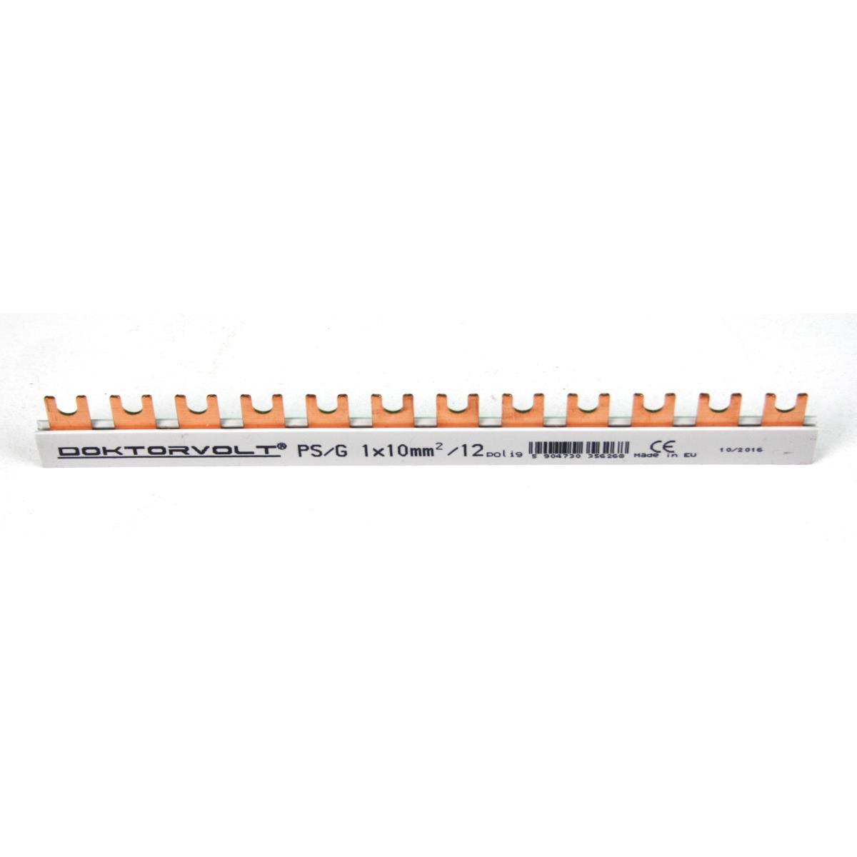 Phasenschiene 1x10mm² 12-Module Sammelschiene Kammschiene Hutschiene 63A,Doktorvolt,DV-6268-PSG, 5904730356268