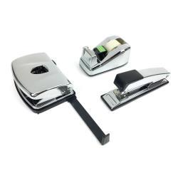 Chrom Schreibtisch Set Büro Locher Klebefilmrolle Tacker Heftgerät Metall