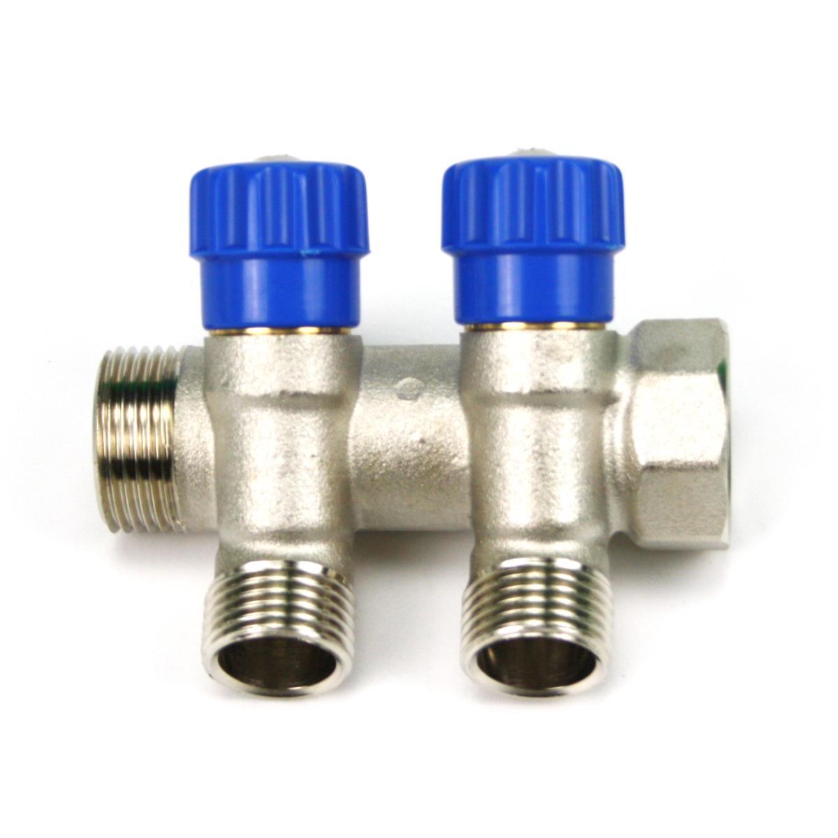 """Verteiler 2-Fach mit Absperrventil Blau Sanitär 3/4"""" x 1/2"""" Wasser Heizung  ,Poletti,C32200QB35, 8025459043837"""