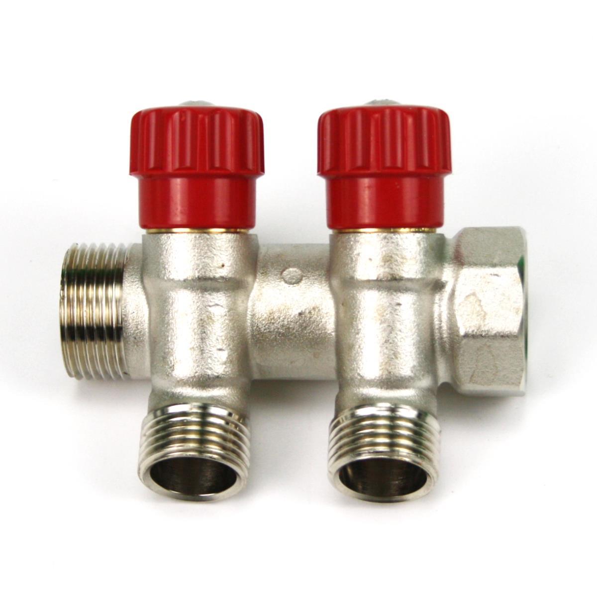 """Verteiler 2-Fach mit Absperrventil Rot Sanitär 3/4"""" x 1/2"""" Wasser Heizung  ,Poletti,C32200QR35, 8025459057728"""