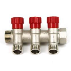 """Verteiler 3-Fach mit Absperrventil Rot Sanitär 3/4"""" x 1/2"""" Wasser Heizung  ,Poletti,C32300QR35, 8025459051184"""