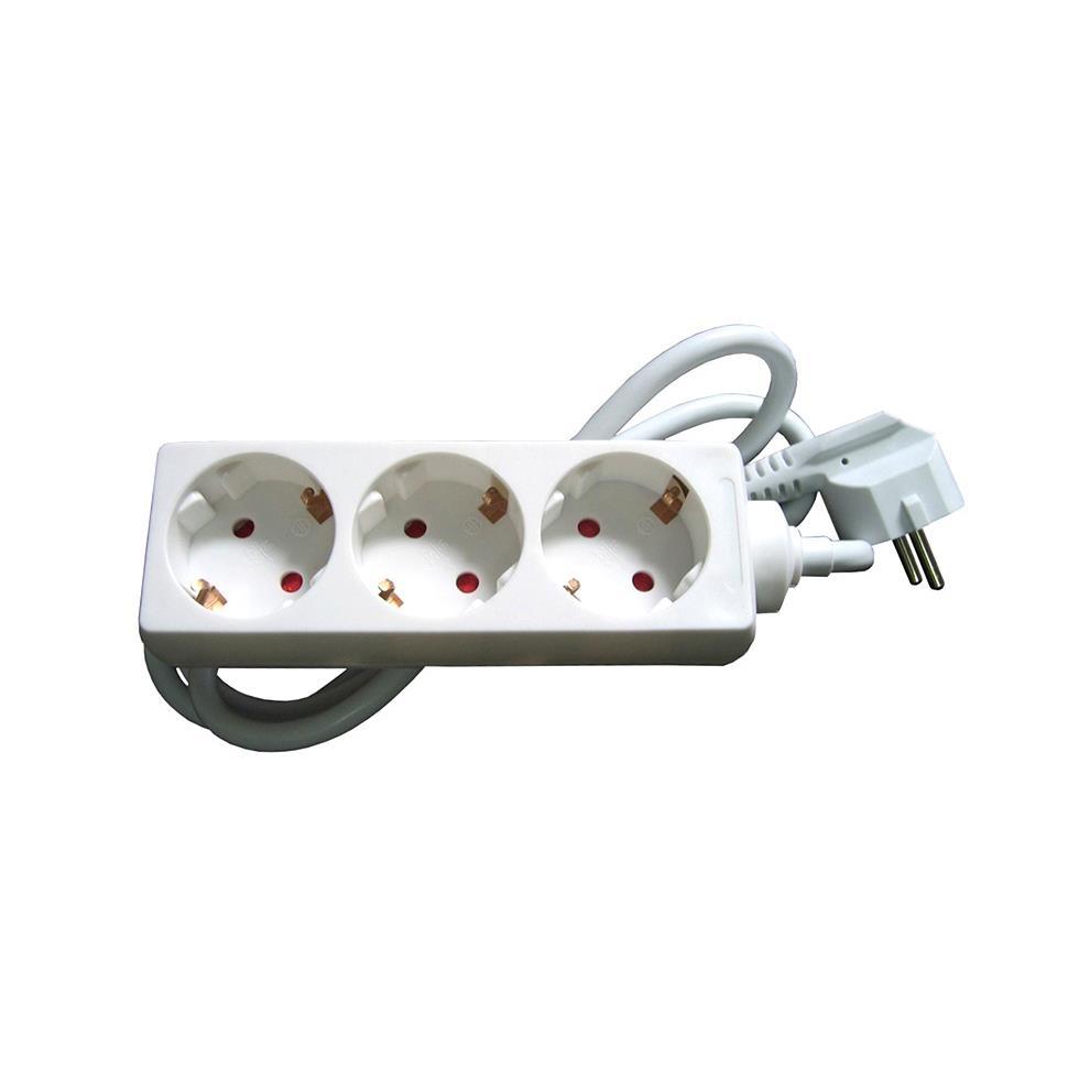 Verteiler Steckdose dreifach Stromleiste Schuko mit Kindersicherung 1,5 m weiß