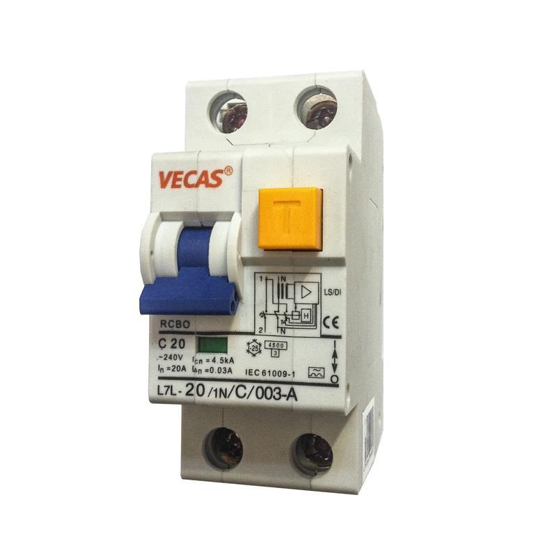 FI-Schutzschalter Fehlerstromschutzschalter Automat 2-polig, 20A 30mA Typ A,Vecas,L7L-20, 4770364099830