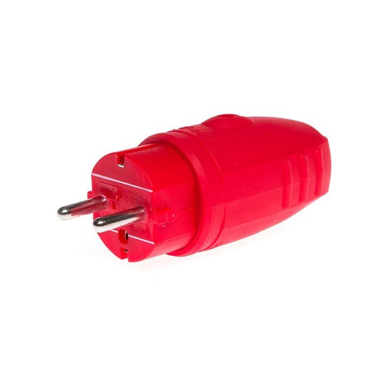 Schuko Stecker Gumiert rot 230V 16A IP44,N&L,171187, 4013920171879