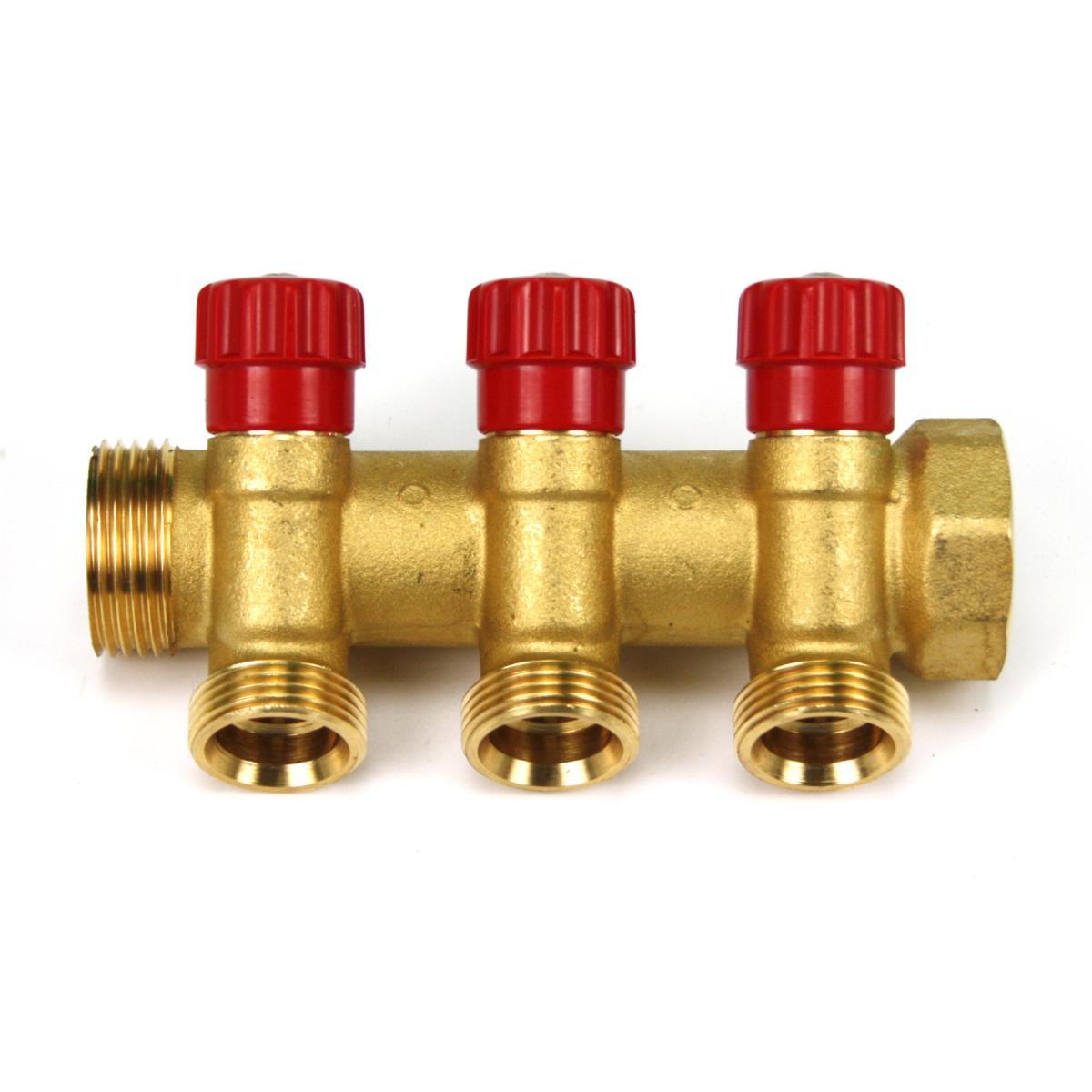 """Messing Verteiler 3-Fach mit Absperrventil Rot Sanitär 1"""" x 3/4"""" Wasser Heizung,Poletti,C323N12TR, 8025459079027"""