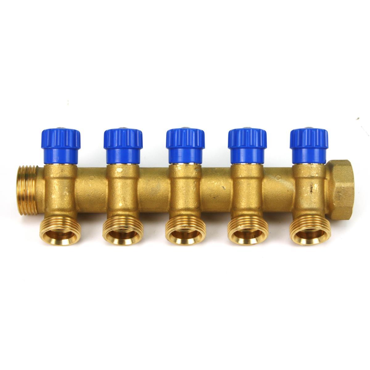 """Messing Verteiler 5-Fach mit Absperrventil Blau Sanitär 1"""" x 3/4"""" Wasser Heizung,Poletti,C325N12TB, 8025459078969"""