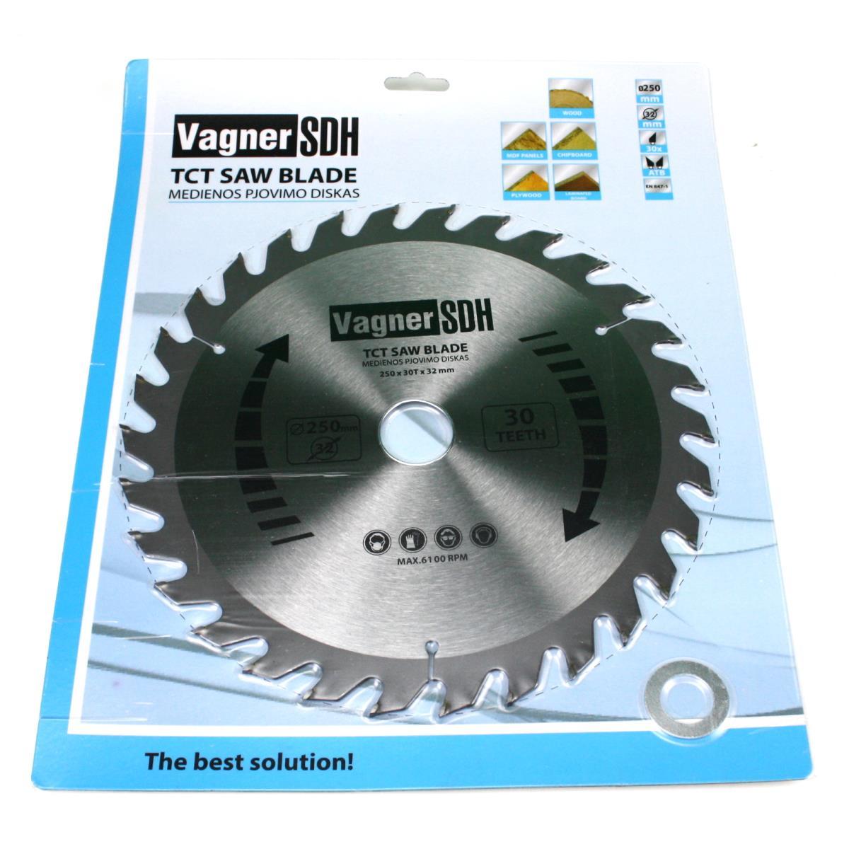 Sägeblatt 250mm Kreissägeblatt für Holz, 30 Zähne, 32-30-20mm,Vagner SDH,51005416, 6941125230702
