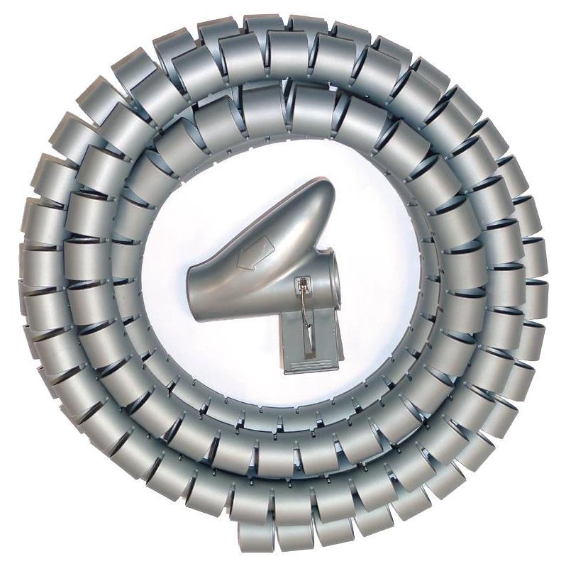 Kabelspirale mit Einfädelhilfe 2m Kabelschlauch  Durchmesser 25-30mm Grau,CHS,CHT-30A, 4770364103575