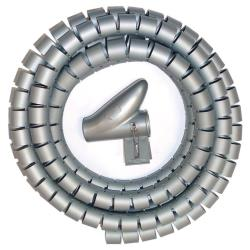 Kabelspirale mit Einfädelhilfe 2m Kabelschlauch  Durchmesser 25-30mm Grau