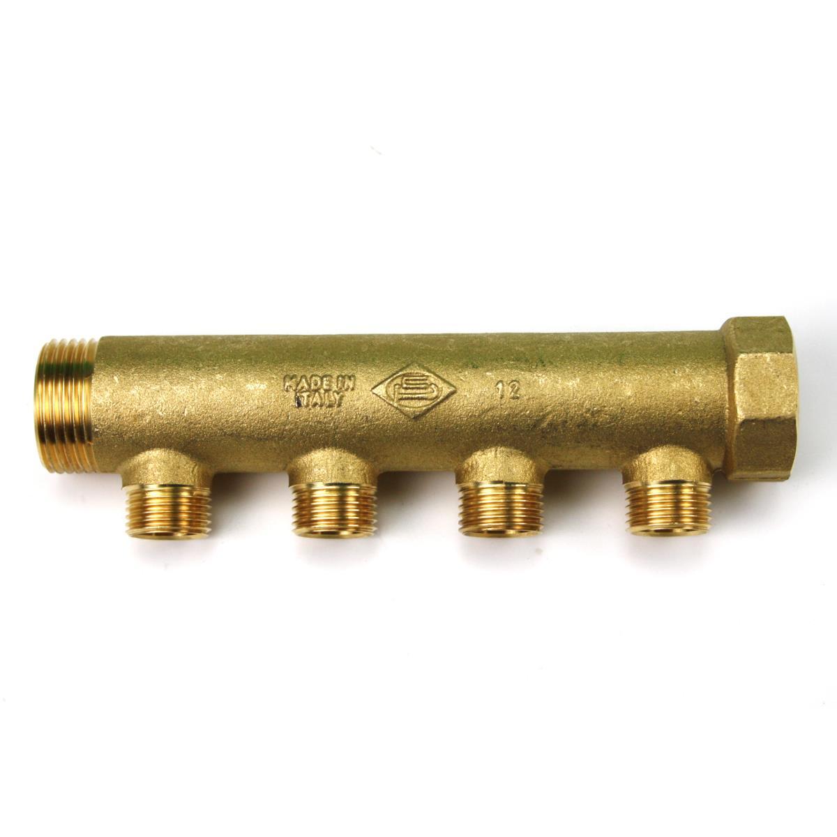 """Messing Universal Verteiler 4-Fach Sanitär 1"""" x 1/2"""" Wasser Heizung IG/AG,Poletti,C30410T, 8025459081846"""