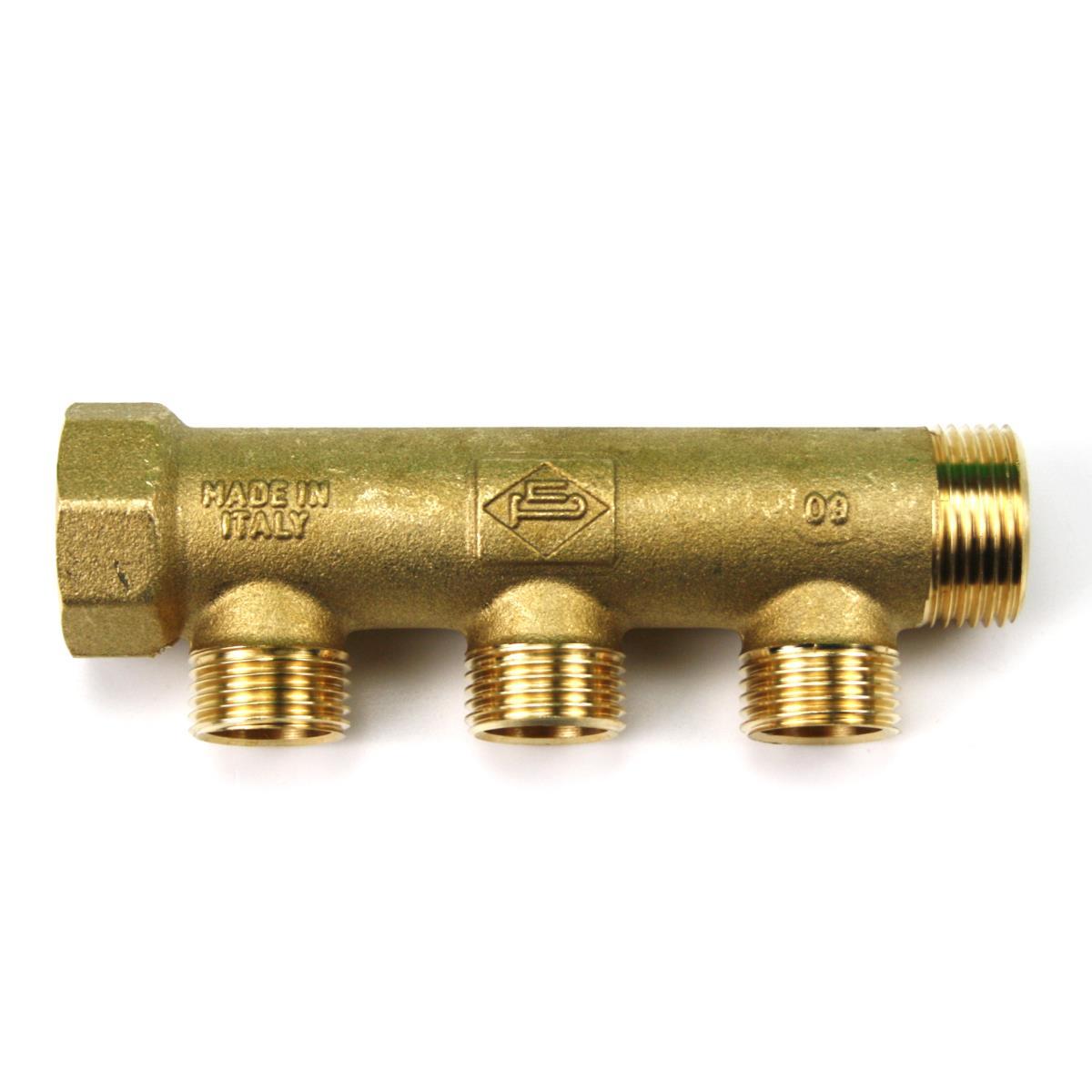"""Messing Universal Verteiler 3-Fach Sanitär 3/4"""" x 1/2"""" Wasser Heizung IG/AG,Poletti,C30300T35, 8025459081822"""
