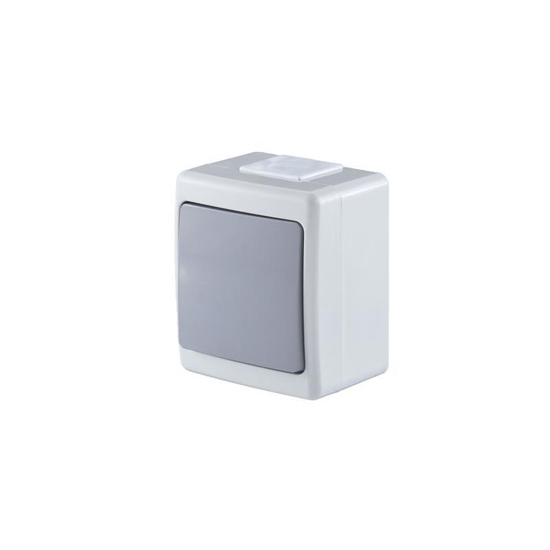 Aufputz Lichtschalter Kreuzschalter IP44 Farbe Grau 10A 230V serie BETA,Pawbol,D.3610WK, 5901350822685