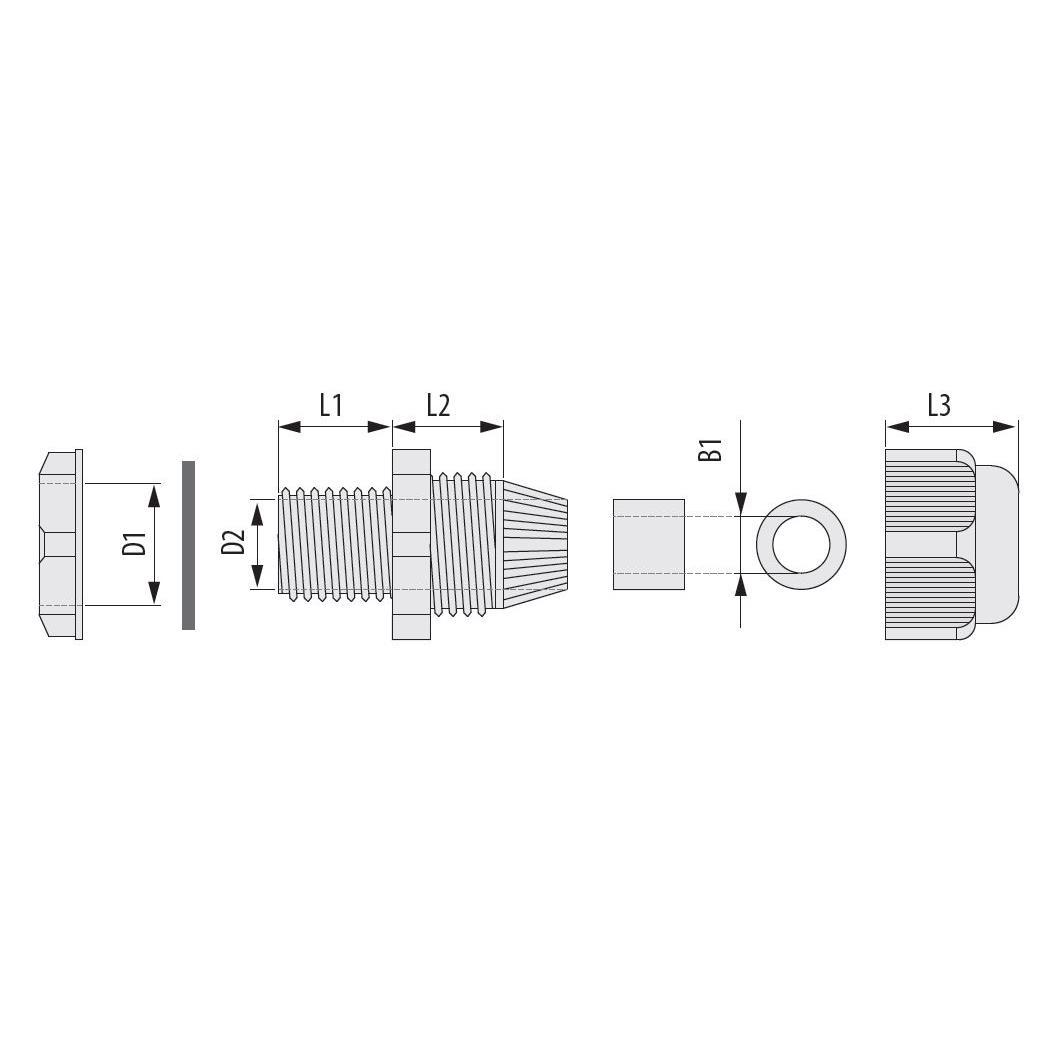 10x Kabelverschraubung IP67 metrisch M12 x 1.5 Grau,Pawbol,D.3088, 4243067014221