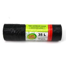 Müllbeutel Zugband 35L Müllsack mit Zugband Abfallsack Sack Säcke 15 Stück