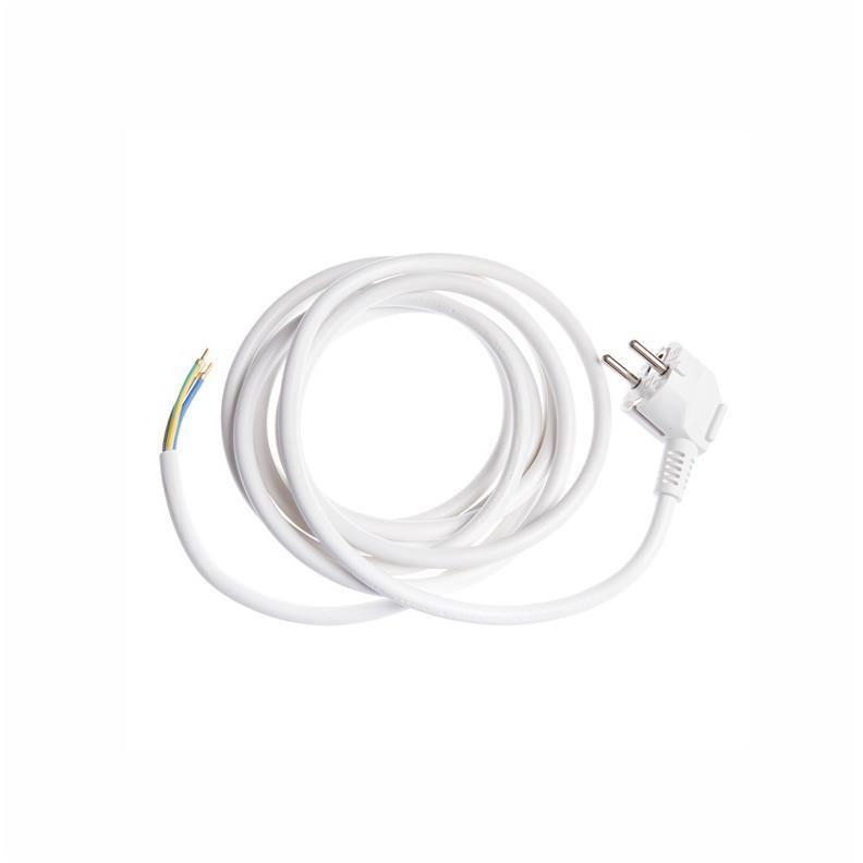 Netzkabel 3m gewinkelt Stromkabel mit offenes Ende 3 x 1,5 mm weiß 16A,OKKO,G1B3-3M, 4772013040354