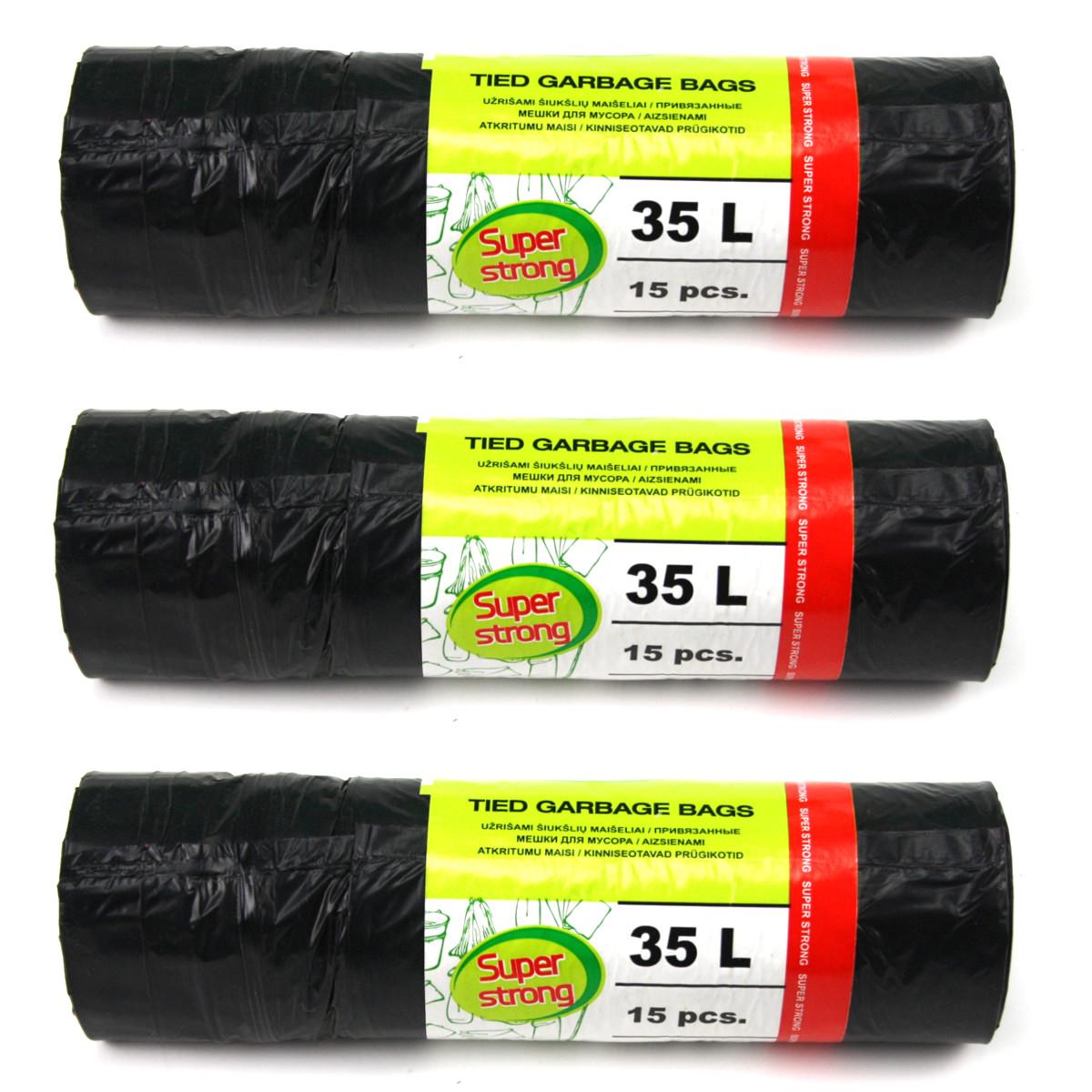 Müllbeutel Zugband 35L Müllsack mit Zugband Abfallsack Sack Säcke 45 Stück,OKKO,5900942683208, 4243067014801