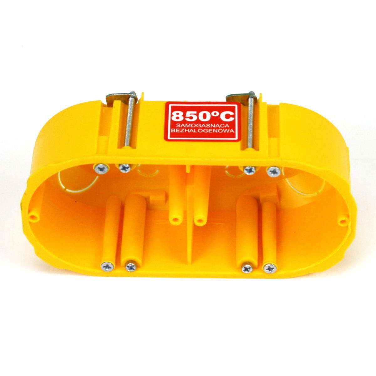 6x Hohlwanddose 2-fach Abzweigdose Hohlraumdose halogenfrei Ø60x47mm, gelb,Elektro-Plast,0210-0N, 4243067015600