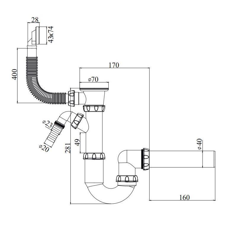 Spülen Siphon Sifon Edelstahlgitter flexibler Überlauf Anschluss Geschirrspüler,chud,Y 440 VE, 8595587421895