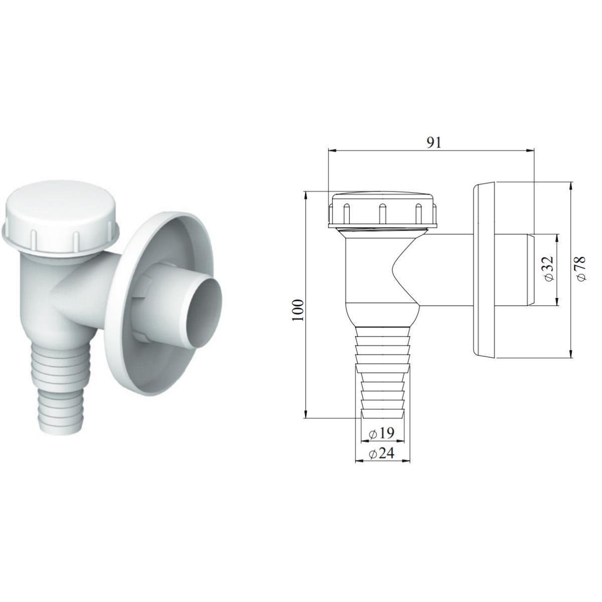 Aufputz Waschmaschinen Siphon Geschirrspüler Sifon  Vorwandinstallation weiß ,chud,CH 529, 8595587401057