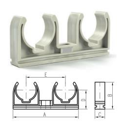 50x Doppel Rohrclip 25mm Rohrklemme Rohrhalter Clipser Rohrschelle Klemmschelle