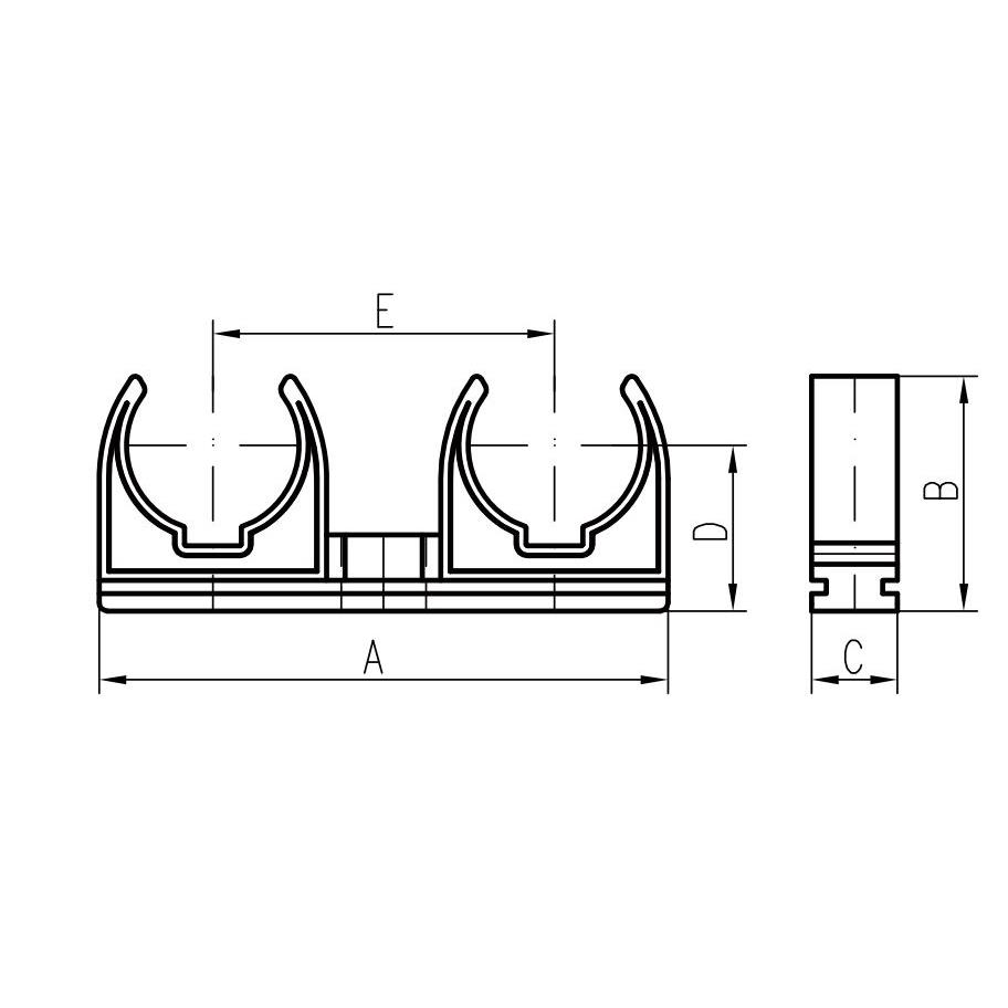 50x Doppel Rohrclip 32mm Rohrklemme Rohrhalter Clipser Rohrschelle Klemmschelle ,chud,20032P, 8595587400173