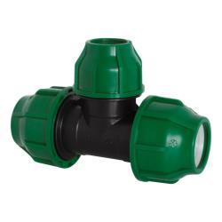 PP Rohr Verschraubung Grün PN10 Klemmfitting, T-Stück reduziert 32 x 25 x 32