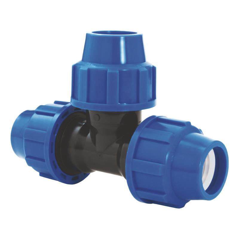PP Rohr Verschraubung Blau PN16 Klemmfitting DVGW, T-Stück 32 x 32 x 32,Diverse,02131050, 5996361009880