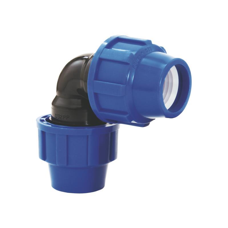 PP Rohr Verschraubung Blau PN16 Klemmfitting DVGW, Winkel 90° 32 x 32,Diverse,02081050, 5996361009668
